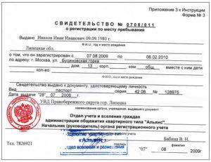 Свидетельство о регистрации места жительства