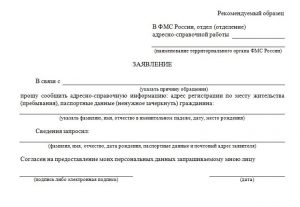 Образец заявления на предоставление адреса прописки