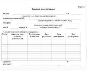 Справка о регистрации места жительства