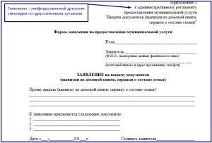 Заявление на получение выписки из домовой книги