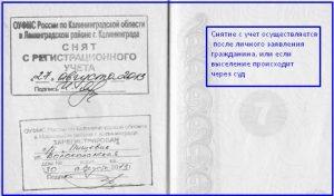 Штамп о регистрации в паспорте