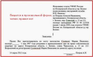 Заявление о согласии на прописку